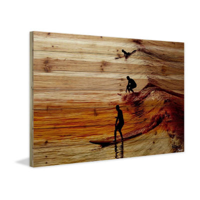 Surfing the Wave Painting Print on Natural Pine Wood