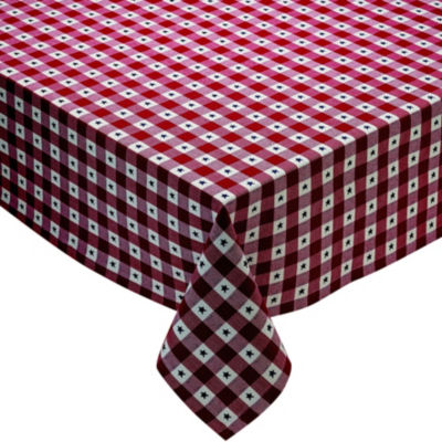 Design Imports Star Dobby Checker Tablecloth
