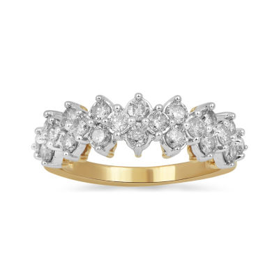 Womens 1 CT. T.W. Genuine White Diamond 10K Gold Crossover Cocktail Ring