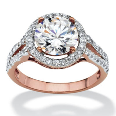 Diamonart Womens 3 CT. T.W. White Cubic Zirconia 14k Rose Gold Over Brass Engagement Ring