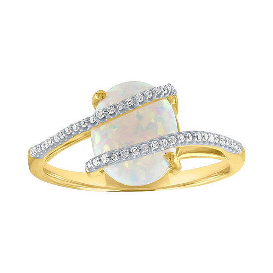 Womens 1/10 CT. T.W. Lab Created White Opal 10K Gold Cocktail Ring