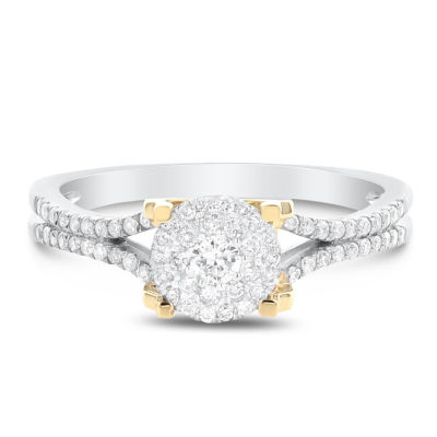 Womens 1/3 CT. T.W. Genuine White Diamond 14K Two Tone Gold Engagement Ring