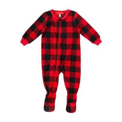Holiday Famjams Red Black Buffalo Check 1 Piece Footed Pajama -Baby Unisex