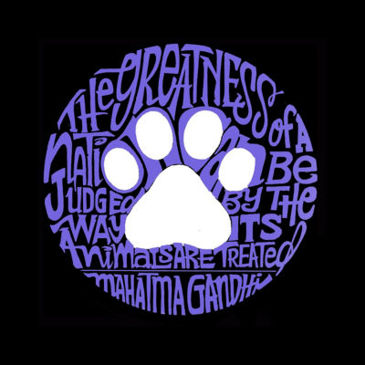 Los Angeles Pop Art Men's Raglan Baseball Word Art T-shirt - Gandhi's Quote on Animal Treatment