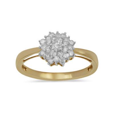 Womens 1/2 CT. T.W. Genuine White Diamond 10K Gold Cluster Ring