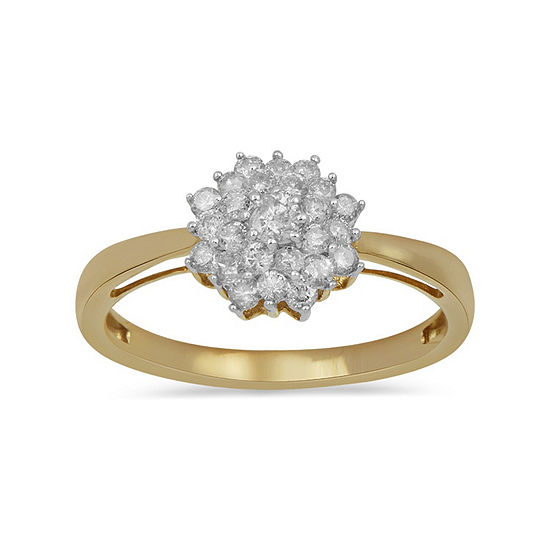 Womens 1 2 Ct Tw Genuine White Diamond 10k Gold Cluster Cocktail Ring