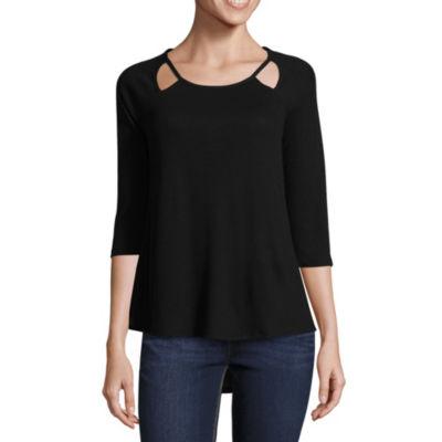 a.n.a 3/4 Sleeve Scoop Neck T-Shirt-Womens