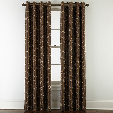JCPenney Home Plaza Embroidery Blackout Grommet-Top Single Curtain Panel, One Size , Brown