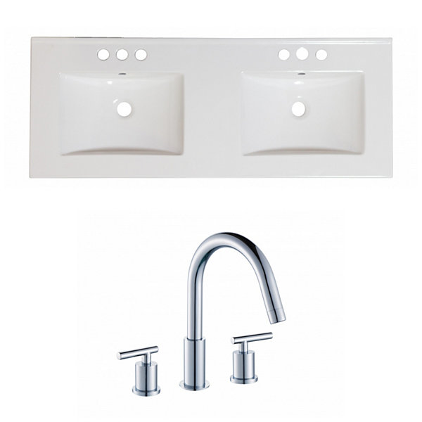 59-in. W 3H8-in. Ceramic Top Set In White Color -CUPC Faucet Incl.