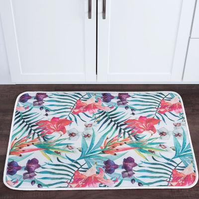 Tayse Flora Transitional Floral Anti-Fatigue Comfort Kitchen Mat