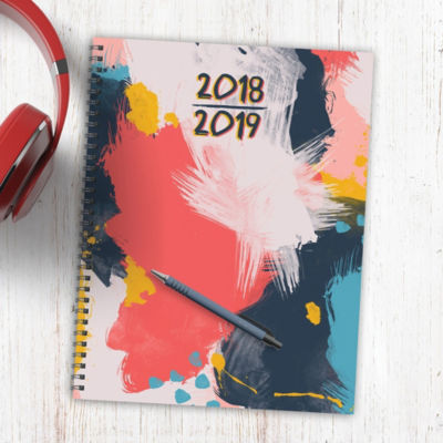 July 2018 - June 2019  Abstract Large Weekly Monthly Planner