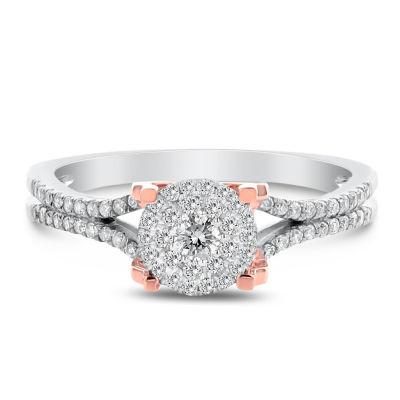 Womens 1/3 CT. T.W. Genuine White Diamond 14K Rose Gold Engagement Ring