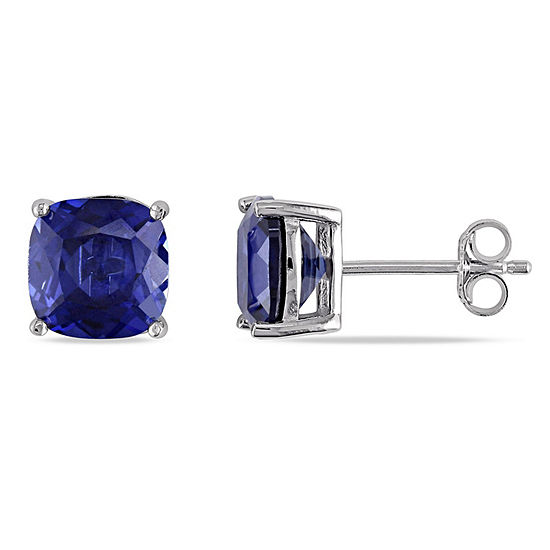 Lab Created Blue Sapphire Sterling Silver 8mm Stud Earrings