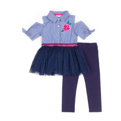 Little Lass 2pc Rose Poplin Legging Set-Baby Girls
