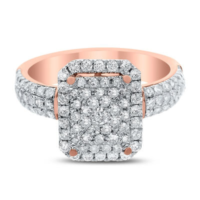 Womens 1 CT. T.W. Genuine White Diamond 14K Rose Gold Engagement Ring