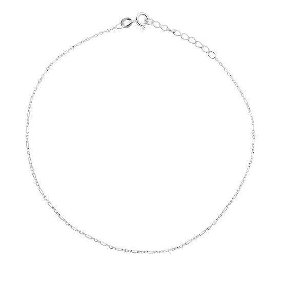 Itsy Bitsy Silver Tone Sterling 9 Inch Semisolid Link Ankle Bracelet