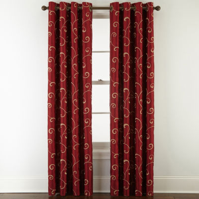 JCPenney Home Plaza Embroidery Blackout Grommet-Top Single Curtain Panel