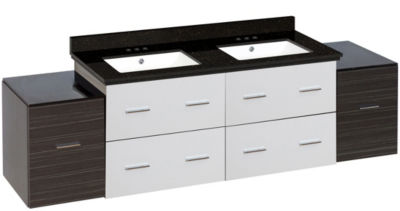 74.5-in. W Wall Mount White-Dawn Grey Vanity Set For 3H4-in. Drilling Black Galaxy Top White UM Sink
