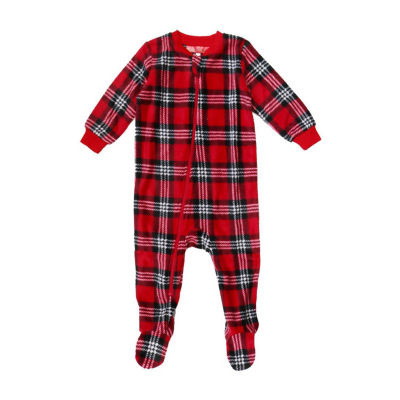 Holiday #Famjams Santa Plaid 1 Piece Footed Pajama -Baby Unisex
