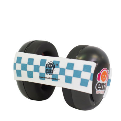 Ems for Kids Bubs Black Hearing & Noise Protection Baby Earmuffs - Blue/White Headband