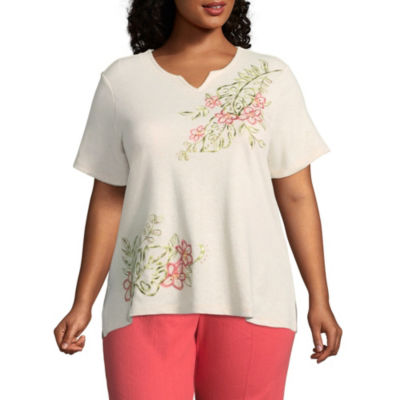 Alfred Dunner Parrot Cay Tropical Embroidery Tee - Plus