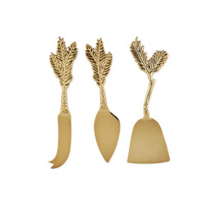 Rustic Holiday: Gold Plated Pine Needle Cheese Knife Set by