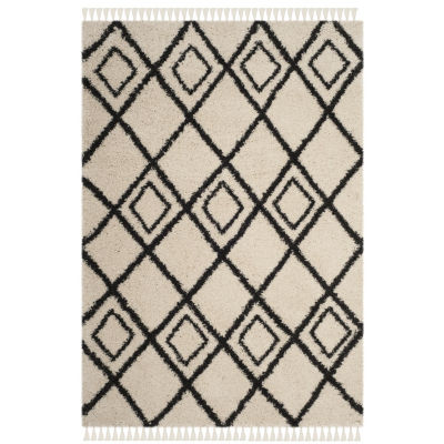 Safavieh Moroccan Fringe Shag Collection Aidan Geometric Round Area Rug