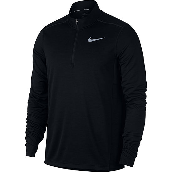 Nike Mens Crew Neck Long Sleeve Quarter-Zip Pullover