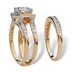 Womens 2 1/3 CT. T.W. White Cubic Zirconia 18K Gold Over Brass Bridal Set