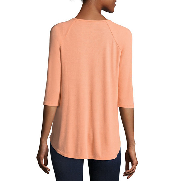 a.n.a 3/4 Sleeve Scoop Neck T-Shirt-Womens