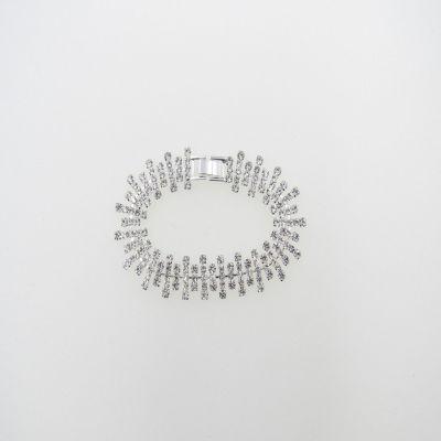 Vieste Rosa Clear Silver Tone Brass 7.5 Inch Tennis Bracelet