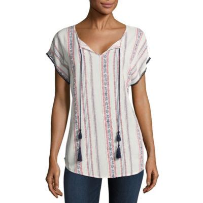 Liz Claiborne Short Sleeve Drop Shoulder Sleeve Geo Linear Peasant Top
