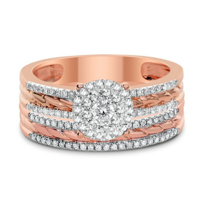 Womens 1/2 CT. T.W. Genuine White Diamond 14K Rose Gold Bridal Set