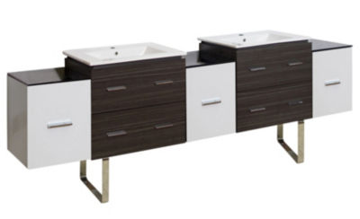 90-in. W Floor Mount White-Dawn Grey Vanity Set For 1 Hole Drilling