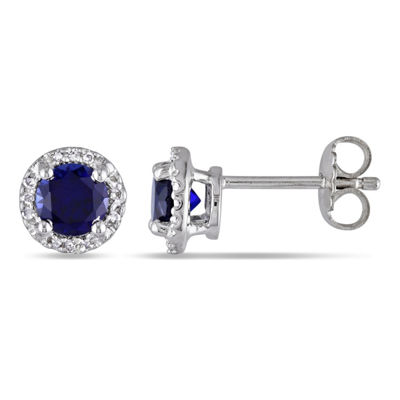 Diamond Accent Lab Created Blue Sapphire Sterling Silver 7.5mm Stud Earrings