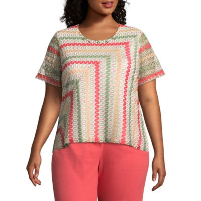 Alfred Dunner Parrot Cay Zig Zag Tee - Plus