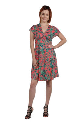 24Seven Comfort Apparel Allie Short Sleeve EmpireWaist Coral Pink Mini Dress
