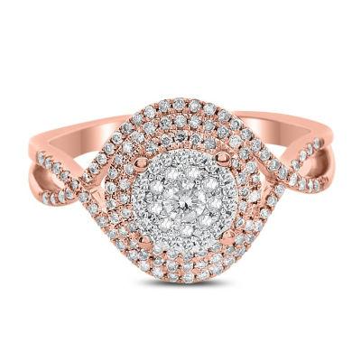 Womens 1/2 CT. T.W. Genuine White Diamond 14K Rose Gold Engagement Ring