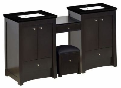 84.75-in. W Floor Mount Distressed Antique WalnutVanity Set For 1 Hole Drilling Black Galaxy Top White UM Sink