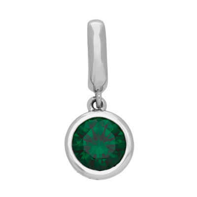 PS Personal Style Simulated Emerald Sterling Silver Round Charm