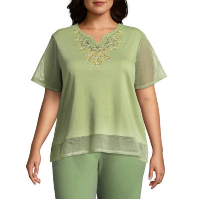 Alfred Dunner Parrot Cay Yoke Mesh Tee - Plus