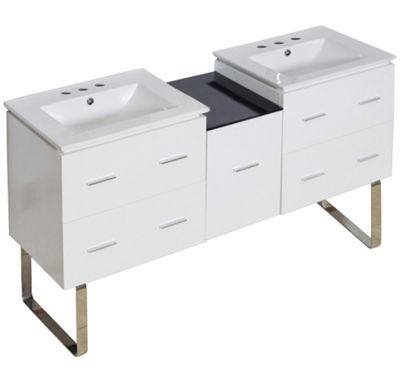 61.5-in. W Floor Mount White Vanity Set For 3H8-in. Drilling
