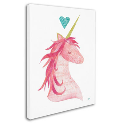 Trademark Fine Art Melissa Averinos Unicorn MagicI Heart Giclee Canvas Art