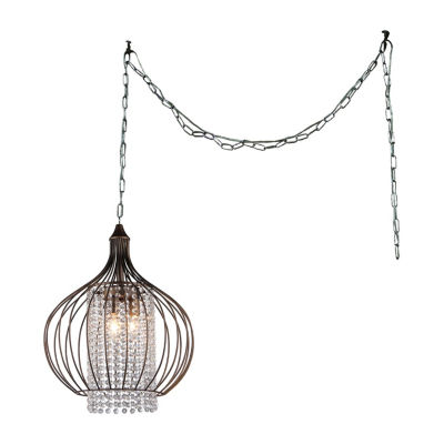 Warehouse Of Tiffany Fannie 3-light Crystal 15-inch Bronze Swag Lamp