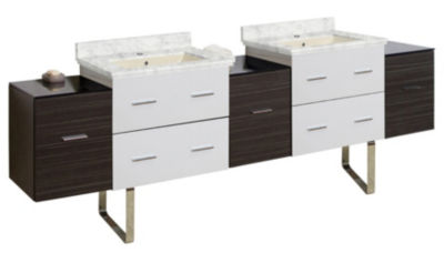 88.5-in. W Floor Mount White-Dawn Grey Vanity SetFor 1 Hole Drilling Bianca Carara Top Biscuit UM Sink