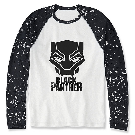 Boys Crew Neck Long Sleeve Black Panther Graphic T-Shirt - Preschool / Big Kid