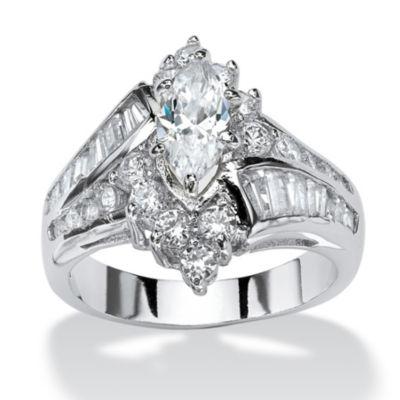 Diamonart Womens 3 1/4 CT. T.W. White Cubic Zirconia Brass Engagement Ring