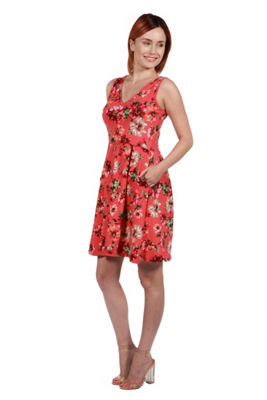 24Seven Comfort Apparel Coral Red and Pink FloralMini Dress