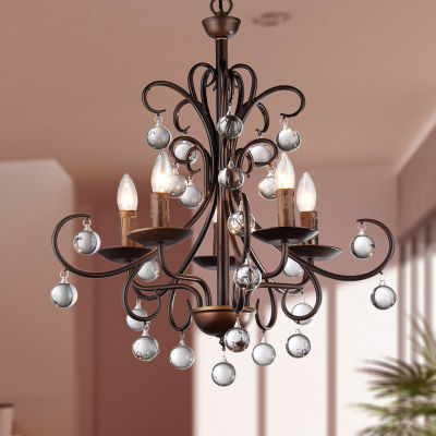 Warehouse Of Tiffany Grace Antique Bronze and Crystal Drop Curved 5-light Chandelier
