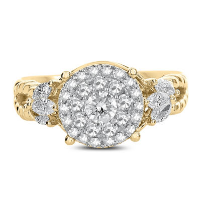 Womens 1 CT. T.W. Genuine White Diamond 14K Gold Engagement Ring